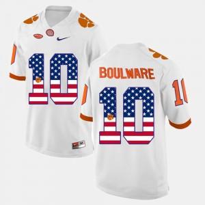 #10 Ben Boulware Clemson Tigers US Flag Fashion Men Jersey - White