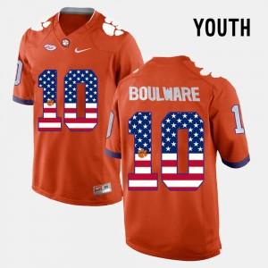 #10 Ben Boulware Clemson Tigers US Flag Fashion Youth(Kids) Jersey - Orange