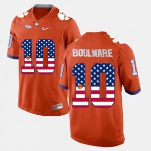 #10 Ben Boulware Clemson Tigers US Flag Fashion Men's Jersey - Orange