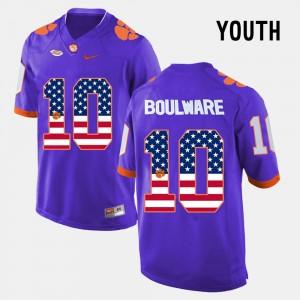 #10 Ben Boulware Clemson Tigers Kids US Flag Fashion Jersey - Purple
