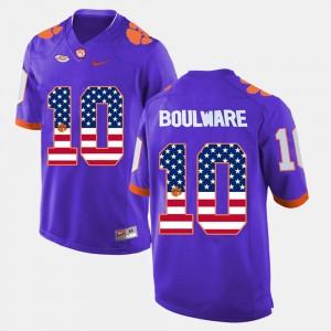 #10 Ben Boulware Clemson Tigers US Flag Fashion For Men's Jersey - Purple