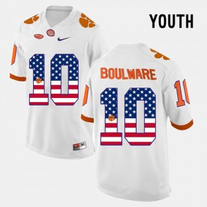 #10 Ben Boulware Clemson Tigers US Flag Fashion Youth Jersey - White