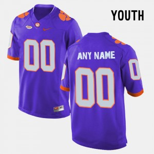 #00 Clemson Tigers Youth(Kids) College Limited Football Custom Jersey - Purple