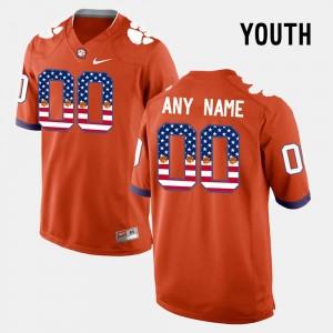 #00 Clemson Tigers Kids US Flag Fashion Customized Jerseys - Orange