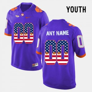 #00 Clemson Tigers US Flag Fashion Youth Customized Jersey - Purple