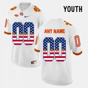 #00 Clemson Tigers US Flag Fashion Youth Custom Jerseys - White