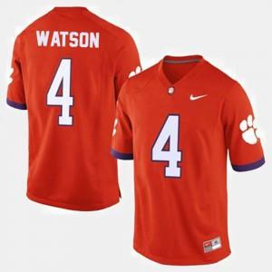 #4 Deshaun Watson Clemson Tigers College Football Men Jersey - Orange