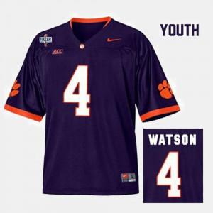 #4 Deshaun Watson Clemson Tigers College Football Kids Jersey - Purple