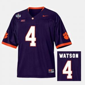 #4 Deshaun Watson Clemson Tigers Men's College Football Jersey - Purple