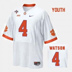 #4 Deshaun Watson Clemson Tigers College Football Kids Jersey - White