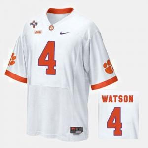 #4 Deshaun Watson Clemson Tigers College Football For Men's Jersey - White