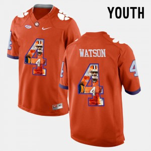 #4 DeShaun Watson Clemson Tigers Pictorial Fashion Kids Jersey - Orange