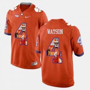 #4 DeShaun Watson Clemson Tigers Men's Pictorial Fashion Jersey - Orange