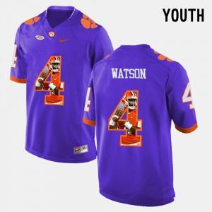 #4 DeShaun Watson Clemson Tigers Youth Pictorial Fashion Jersey - Purple