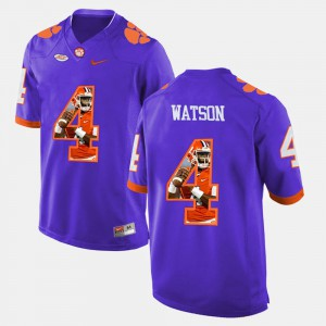 #4 DeShaun Watson Clemson Tigers Pictorial Fashion Men Jersey - Purple