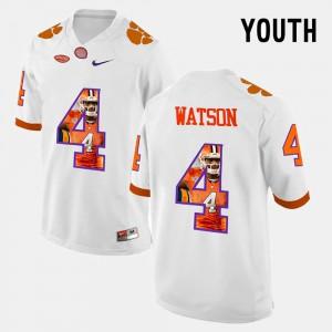 #4 DeShaun Watson Clemson Tigers Youth(Kids) Pictorial Fashion Jersey - White