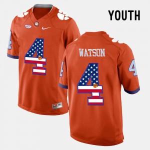 #4 DeShaun Watson Clemson Tigers For Kids US Flag Fashion Jersey - Orange