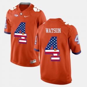 #4 DeShaun Watson Clemson Tigers US Flag Fashion For Men's Jersey - Orange