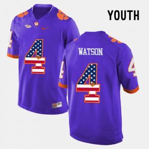 #4 DeShaun Watson Clemson Tigers US Flag Fashion For Kids Jersey - Purple
