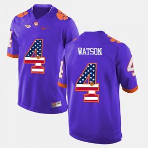#4 DeShaun Watson Clemson Tigers For Men US Flag Fashion Jersey - Purple