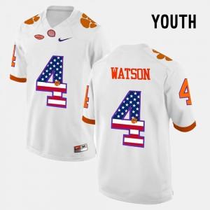 #4 DeShaun Watson Clemson Tigers Youth US Flag Fashion Jersey - White