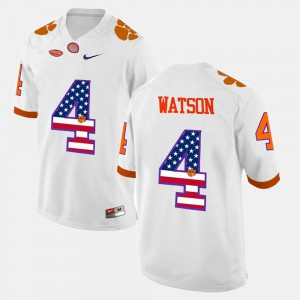 #4 DeShaun Watson Clemson Tigers For Men's US Flag Fashion Jersey - White