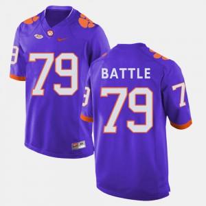 #79 Isaiah Battle Clemson Tigers For Men's College Football Jersey - Purple