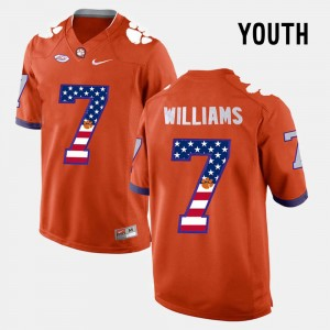 #7 Mike Williams Clemson Tigers Youth(Kids) US Flag Fashion Jersey - Orange