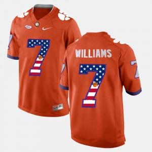 #7 Mike Williams Clemson Tigers US Flag Fashion Men's Jersey - Orange