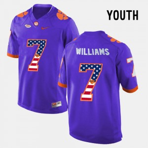#7 Mike Williams Clemson Tigers US Flag Fashion Youth(Kids) Jersey - Purple