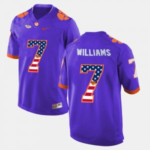 #7 Mike Williams Clemson Tigers US Flag Fashion Men Jersey - Purple