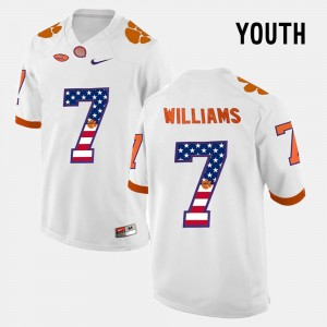 #7 Mike Williams Clemson Tigers US Flag Fashion Kids Jersey - White