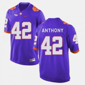 #42 Stephone Anthony Clemson Tigers College Football Men's Jersey - Purple