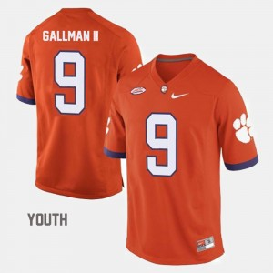 #9 Wayne Gallman II Clemson Tigers College Football Youth(Kids) Jersey - Orange