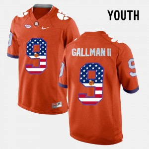 #9 Wayne Gallman II Clemson Tigers US Flag Fashion For Kids Jersey - Orange