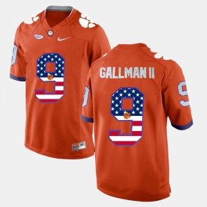 #9 Wayne Gallman II Clemson Tigers US Flag Fashion For Men's Jersey - Orange