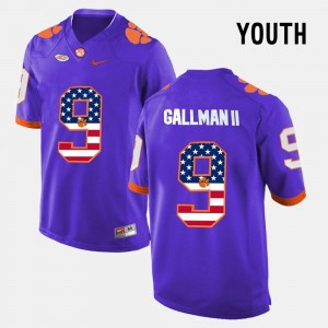 #9 Wayne Gallman II Clemson Tigers US Flag Fashion Kids Jersey - Purple