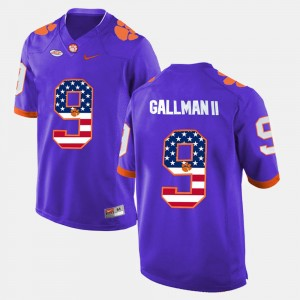 #9 Wayne Gallman II Clemson Tigers US Flag Fashion Mens Jersey - Purple