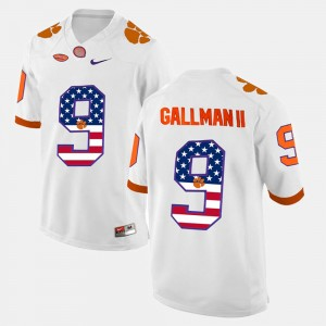 #9 Wayne Gallman II Clemson Tigers US Flag Fashion Men Jersey - White