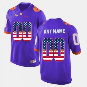 #00 Clemson Tigers US Flag Fashion Mens Custom Jersey - Purple