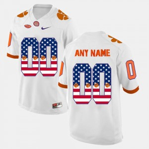 #00 Clemson Tigers US Flag Fashion Men Custom Jerseys - White