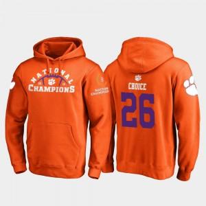 #26 Adam Choice Clemson Tigers College Football Playoff Pylon 2018 National Champions For Men Hoodie - Orange