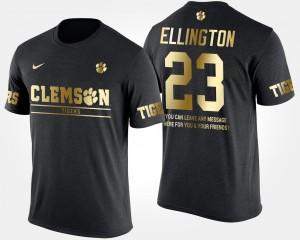 #23 Andre Ellington Clemson Tigers Gold Limited Men's Short Sleeve With Message T-Shirt - Black