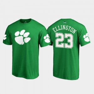#23 Andre Ellington Clemson Tigers Men St. Patrick's Day White Logo T-Shirt - Kelly Green