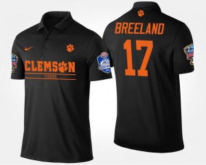 #17 Bashaud Breeland Clemson Tigers Bowl Game Men Atlantic Coast Conference Sugar Bowl Polo - Black