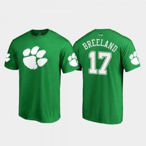 #17 Bashaud Breeland Clemson Tigers St. Patrick's Day For Men's White Logo T-Shirt - Kelly Green