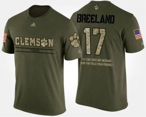 #17 Bashaud Breeland Clemson Tigers Men Military Short Sleeve With Message T-Shirt - Camo