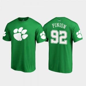 #92 Bradley Pinion Clemson Tigers St. Patrick's Day White Logo Men T-Shirt - Kelly Green