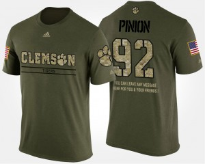 #92 Bradley Pinion Clemson Tigers For Men Military Short Sleeve With Message T-Shirt - Camo