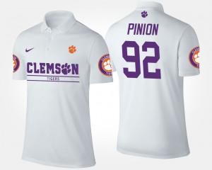 #92 Bradley Pinion Clemson Tigers For Men's Polo - White